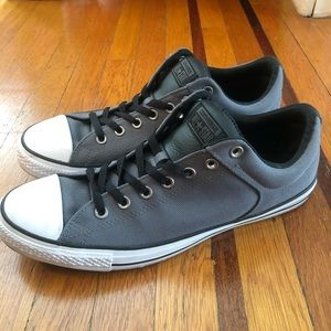 EUC Converse All Stars gray black leather shoes 12